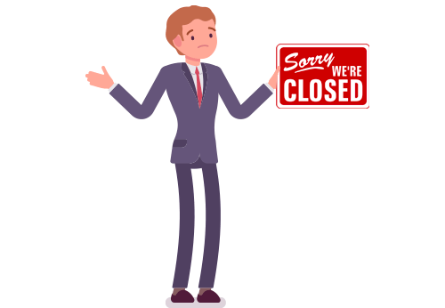 Lawyer with closed sign